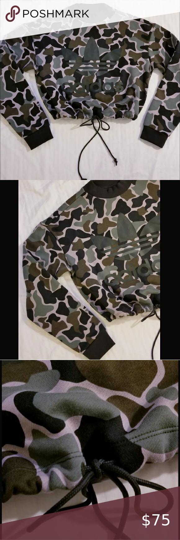 Adidas Camo Drawstring Bottom Crop Sweatshirt Nwt Nwt Large Camo Print W Large Trefoil Logo On The Rader Side Espec Adidas Camo Crop Sweatshirt Drawstring [ 1740 x 580 Pixel ]