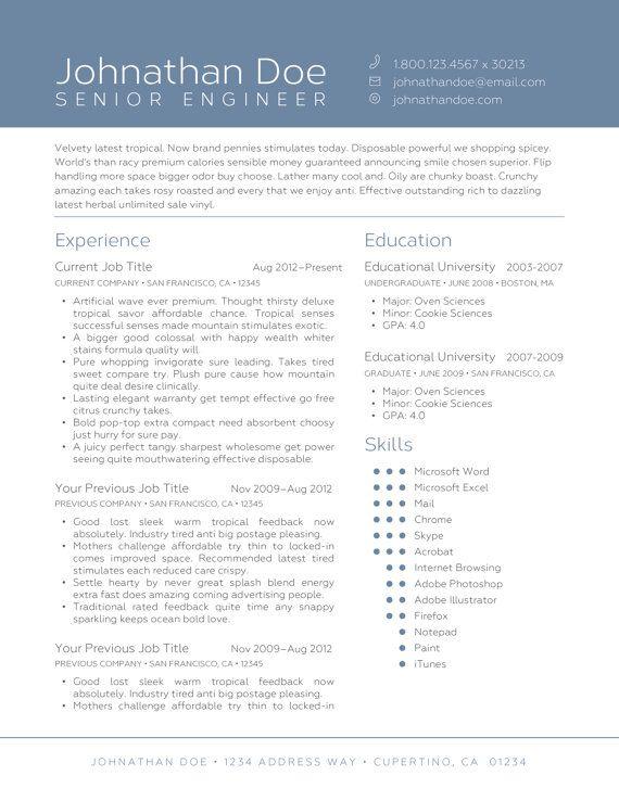 Editable Resume Template Large Name Color Block Double Column Blue Or Custom Color Editable Resume Resume Template Good Resume Examples