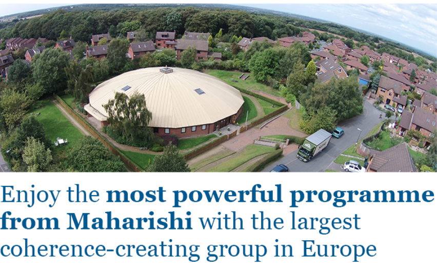 bird's eye view of the Dome, with title: Enjoy the most powerful programme from Maharishi with the largest coherence creating group in Europe