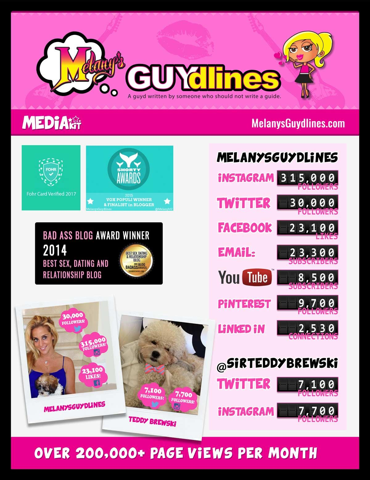 Media kit funny lifestyle relationship blog with a