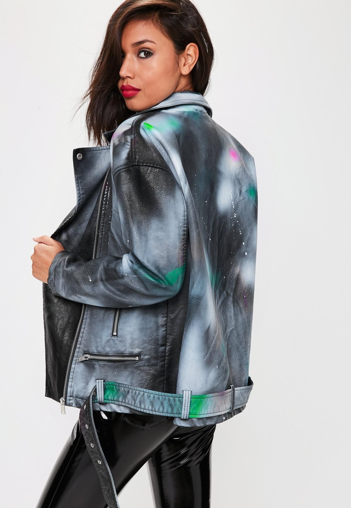 Black Faux Leather Spray Paint Jacket Missguided