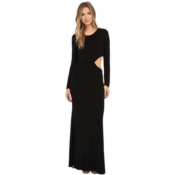 Young Fabulous & Broke Brooklyn Maxi Women's Dress ($211) ❤ liked on Polyvore featuring dresses, long sleeve maxi dress, cut out dress, cutout dress, black longsleeve dress and maxi dress