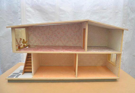 1950s 60s Vintage Antique VERO Wood po Printed Doll s House Modern Pop Art Modernist Made in Germany Brio Lundby Hanse Bodo Hennig style