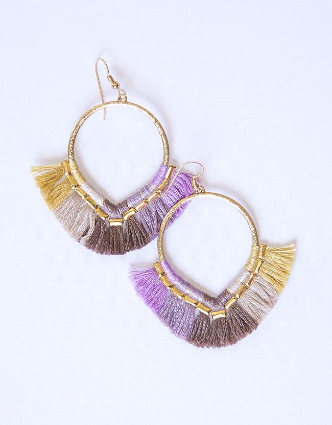 Fringe Lover Earrings in LILAC! Super colorful and super cute gold ...