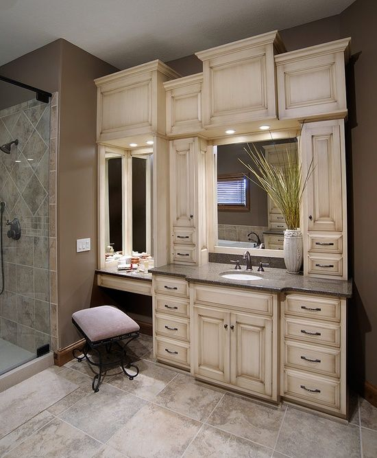 Built In Double Vanities Bathroom Vanity With Built In Cabinets Around Mirrors Home