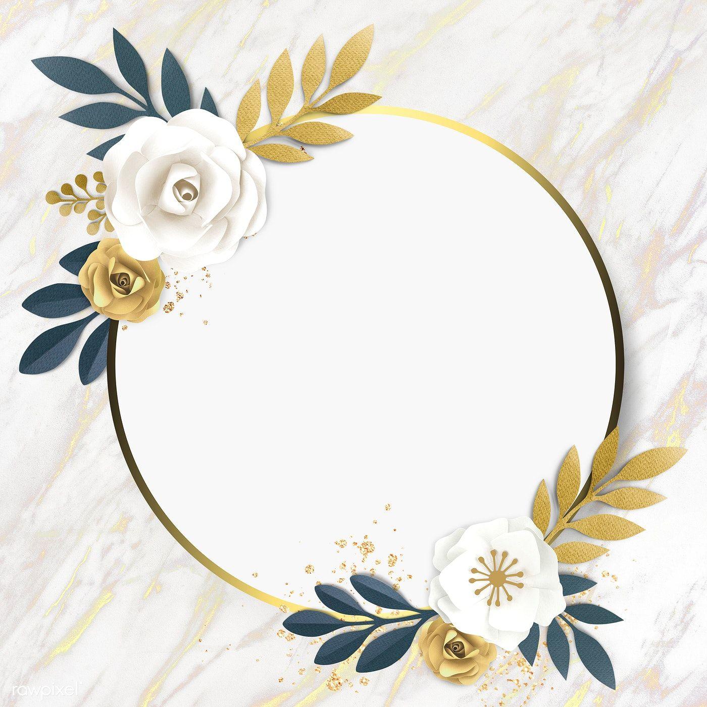 Download premium image of Round paper craft flower frame