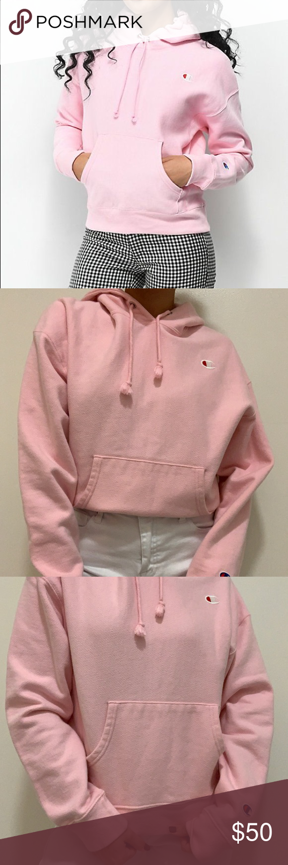 Candy Pink CHAMPION Hoodie Champion Reverse Weave Hoodie - Color: Candy Pink (like a light pink!) - Size: Medium - In perfect condition, literally only wore it once Champion Sweaters #championhoodie