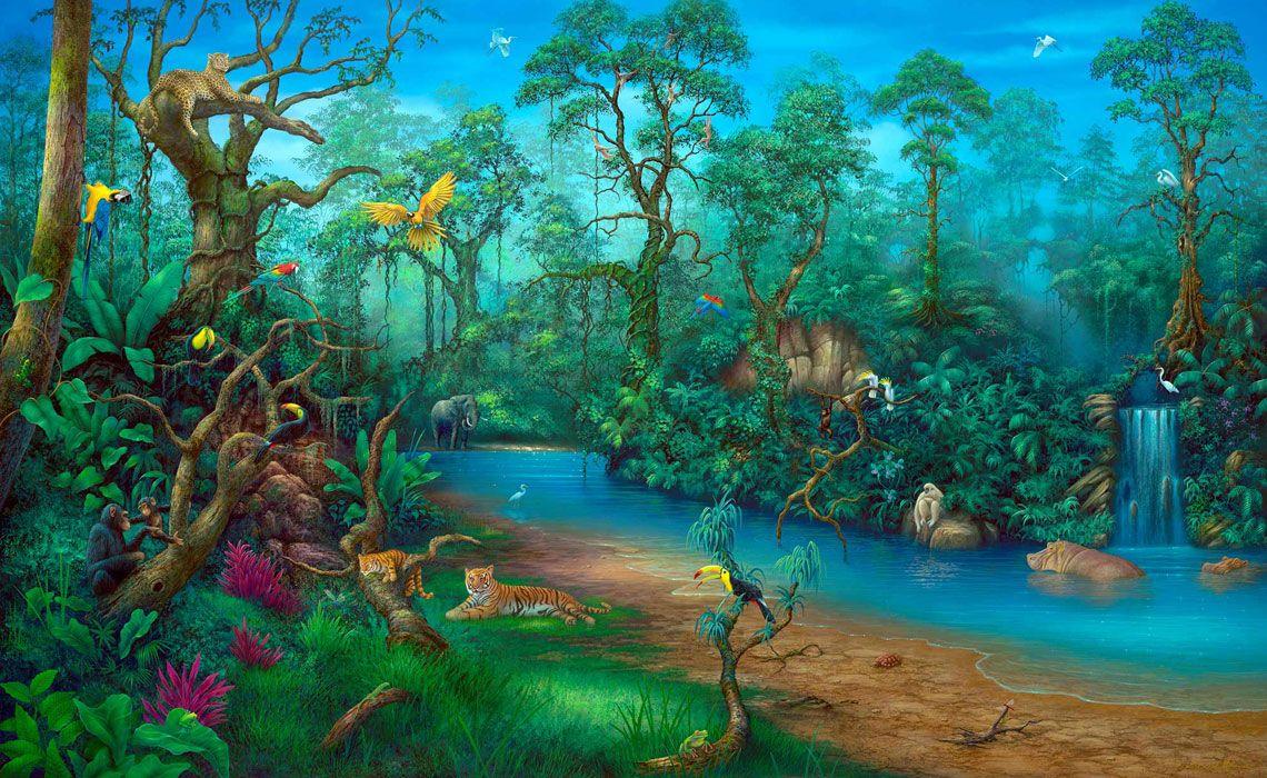 Rainforest Painting Wall Art By Artist David Miller Arte In 2019