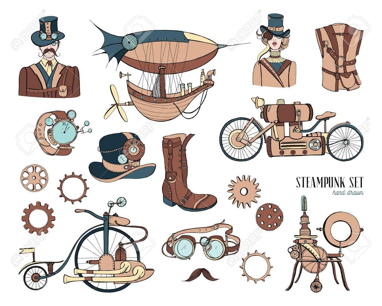 Objetos De Steampunk Y Coleccion De Mecanismos Maquina Ropa Gente Y Engranajes Dibujado A Mano Conjunto De Ilustracion De Estilo Vintage Engranajes Dibujo Manos Dibujo Steampunk