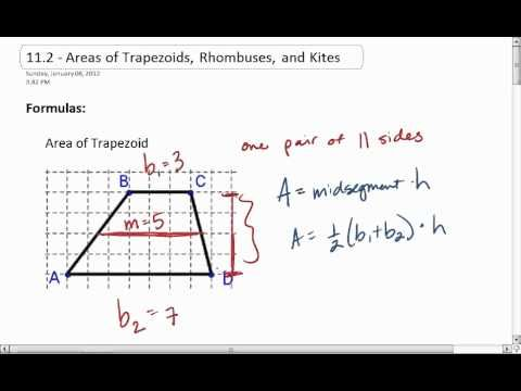 Geo 11 2 1 Of 4 Area Of Trapezoid And Kite Mp4 Free Math Worksheets Learning Strategies Math Worksheets