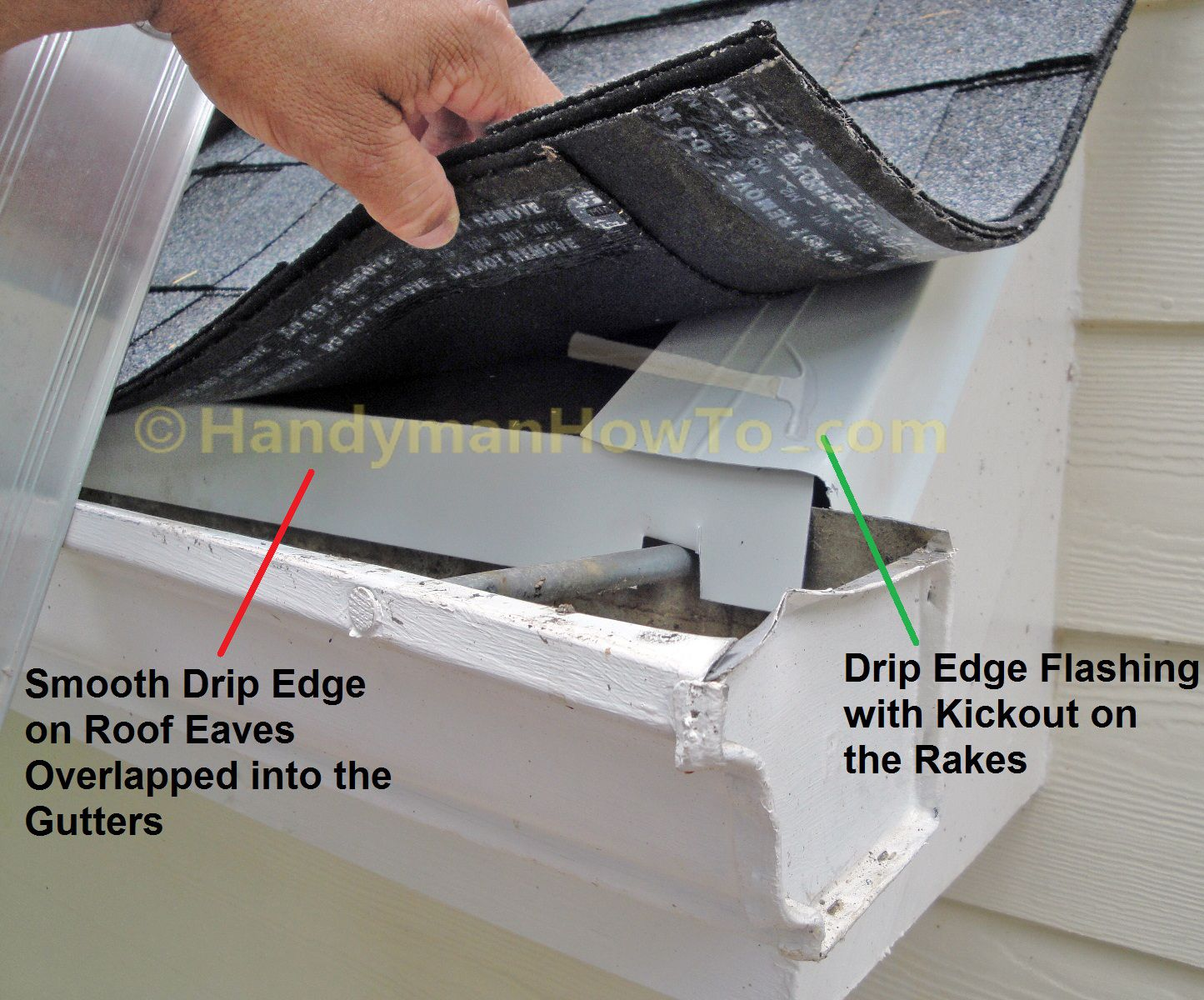 Replace fascia boards in sections - Drip Edge Flashing Is Installed On The Roof Eaves And Rakes To Protect The Fascia Board