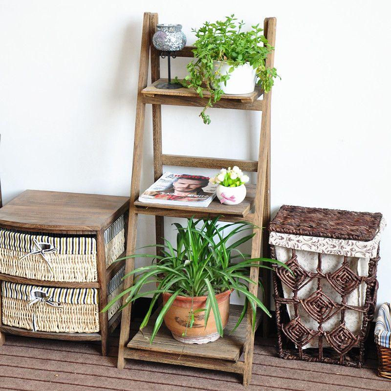 Decoraci n de madera plegable planta soporte con tres - Estantes para macetas ...