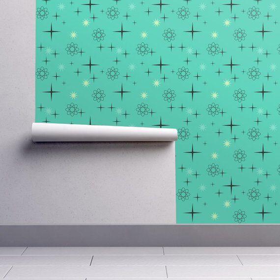 Mid Century Wallpaper Atomic Starburst On Turquoise By