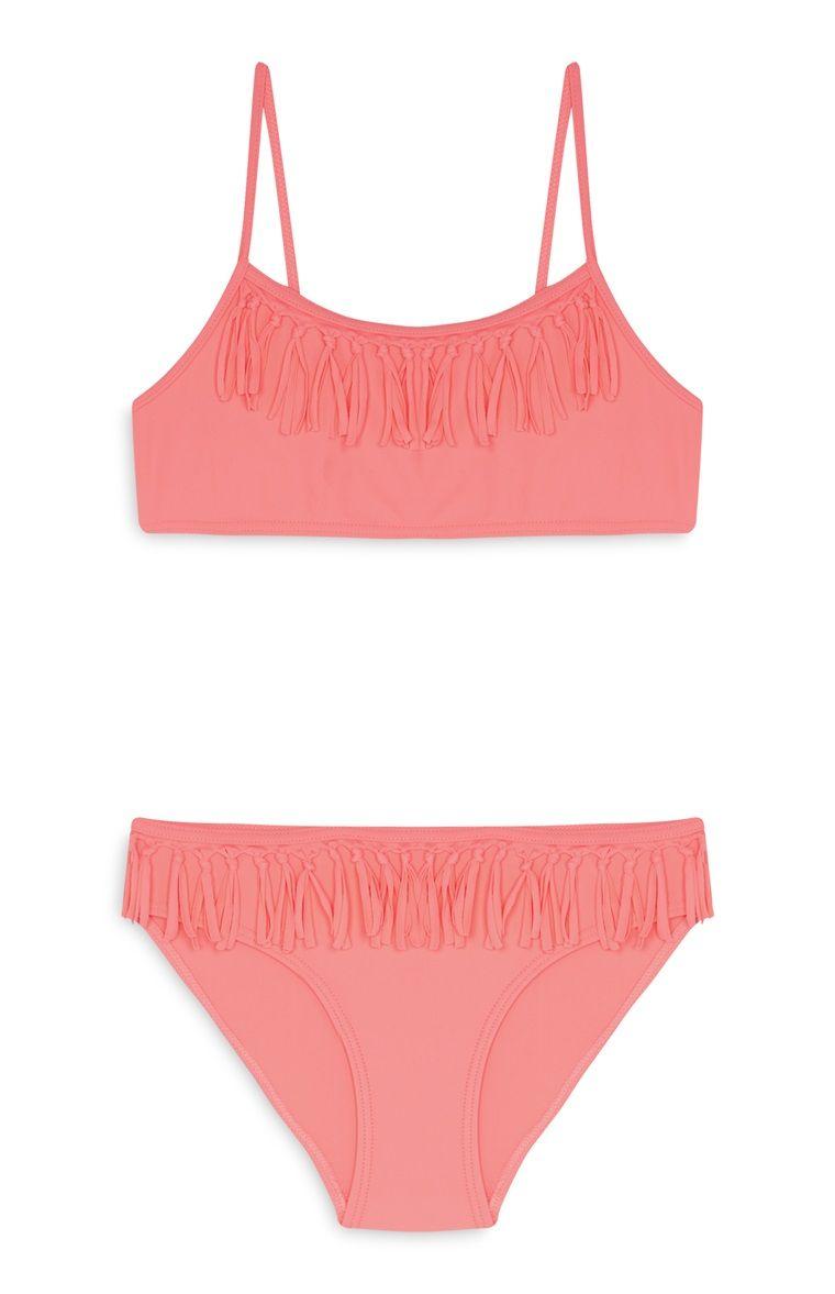 c04a9a069aef Bikini rosa con flecos de niña mayor | moda y belleza en 2019 ...