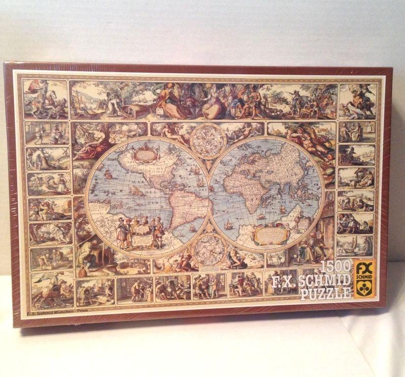 New Vintage 1983 FX Schmid Jigsaw Puzzle Antique World Map 1500 Pcs - new antique world map images