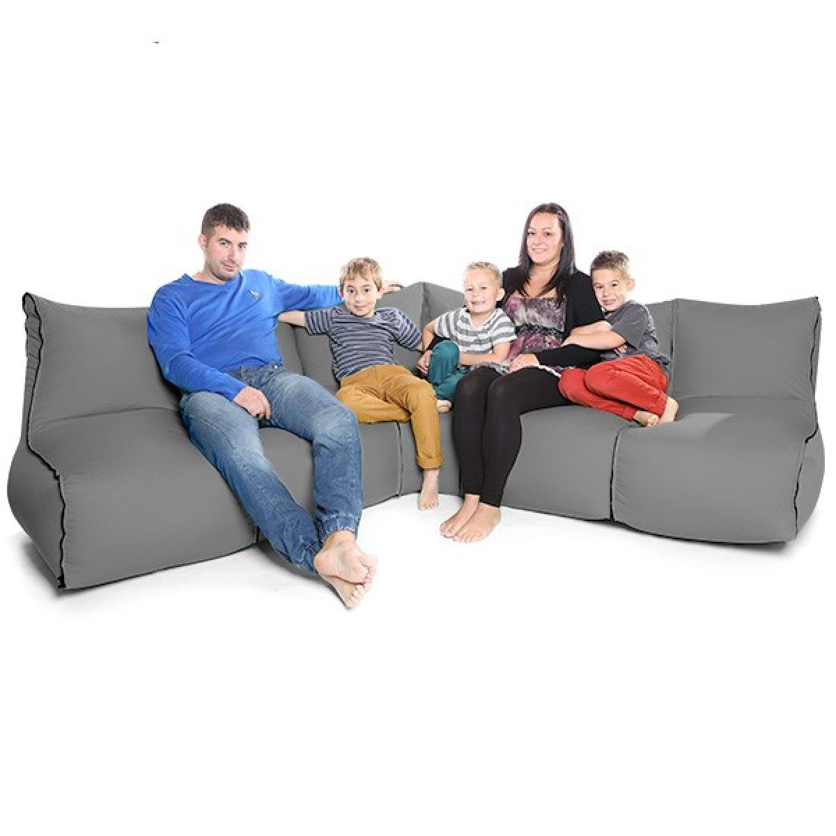 Corner Beanbag 270 Grey Bean Bag 6 Piece