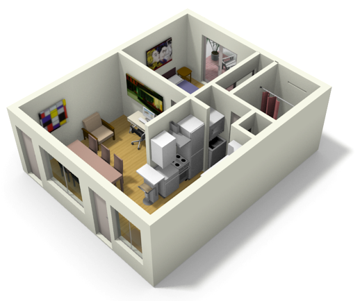 SImple 3D Tiny House Floor Plans For Small Family