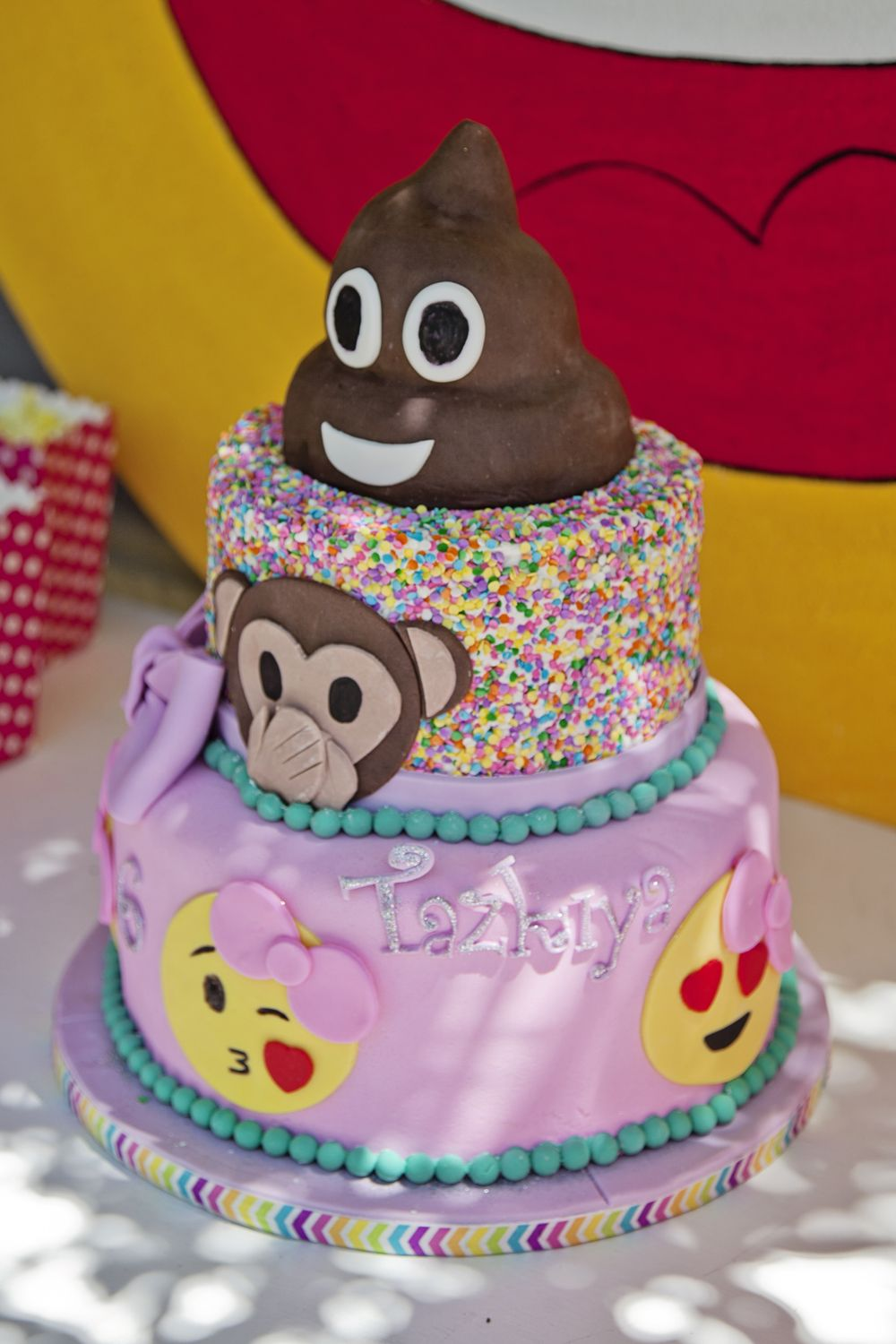 Emoji Theme Party Cake Ideas Poop Topper 10th Birthday Parties