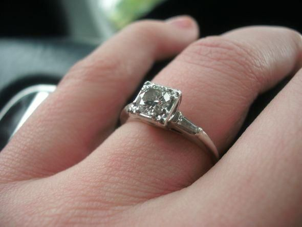 Antique Engagement Ring Round Stone In Square Setting 32