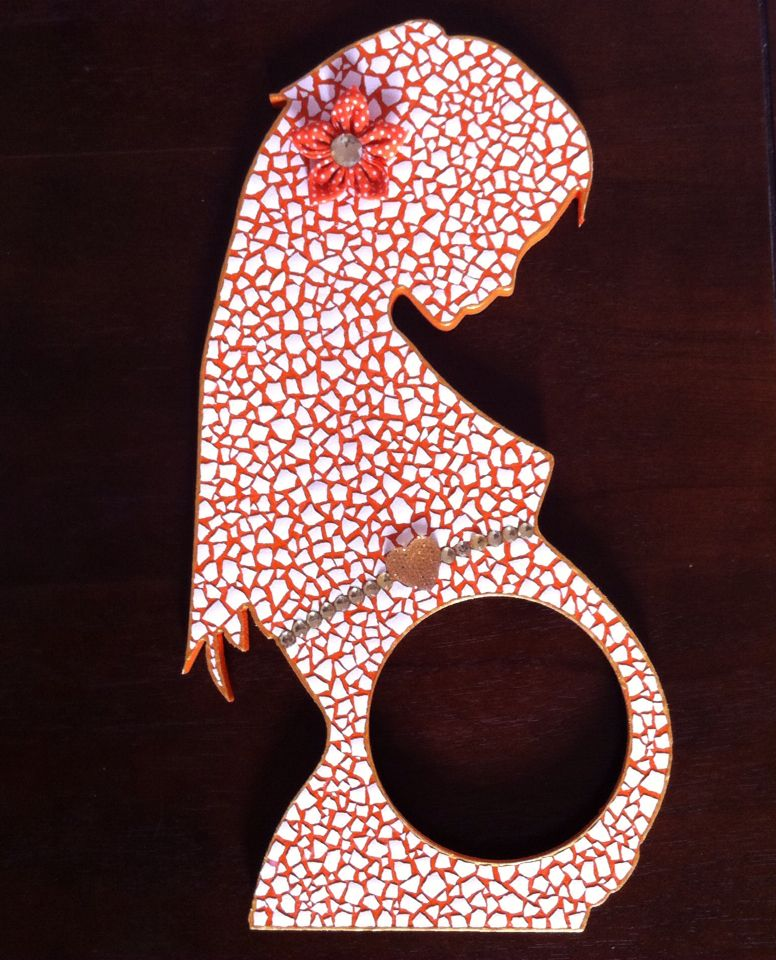 Maldura de gravida em mosaico de casca de ovo