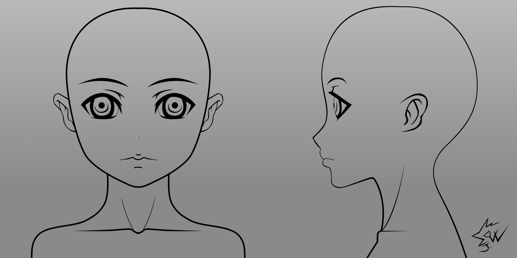 Anime Character Design Template : Anime girl model head template by johnnydwicked on