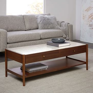 Marble Top Goes With Kitchen Robbins Mid Century Storage Coffee Table Westelm