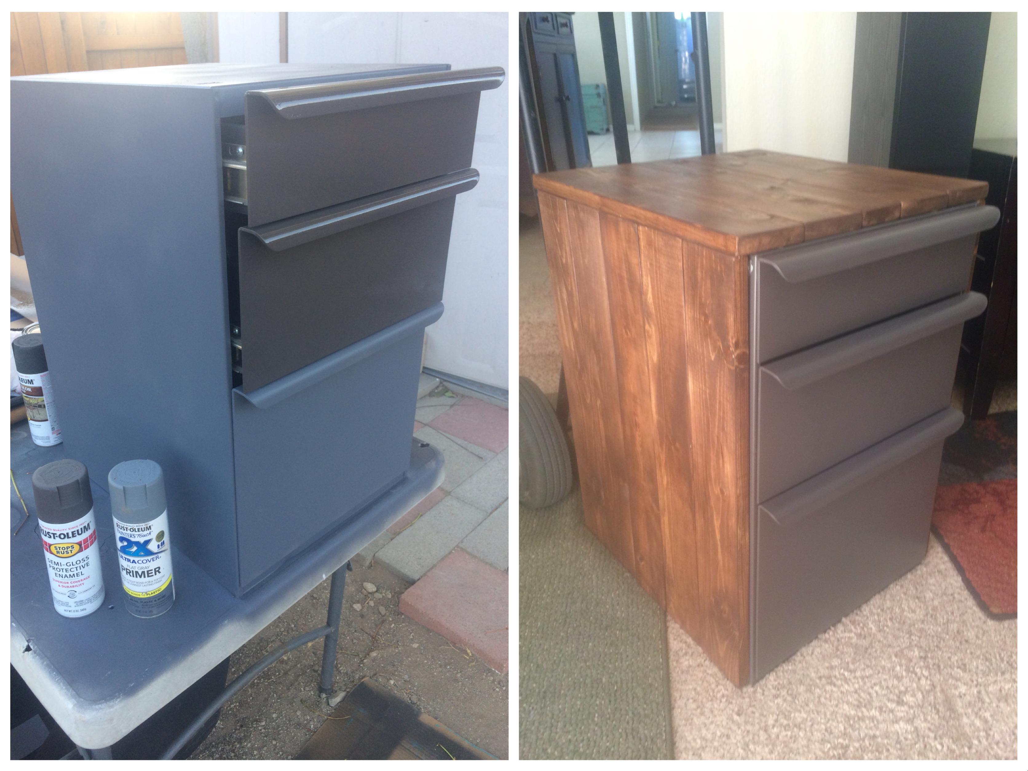 Revamped metal File cabinet, thrift store find, pine wood, dark ...