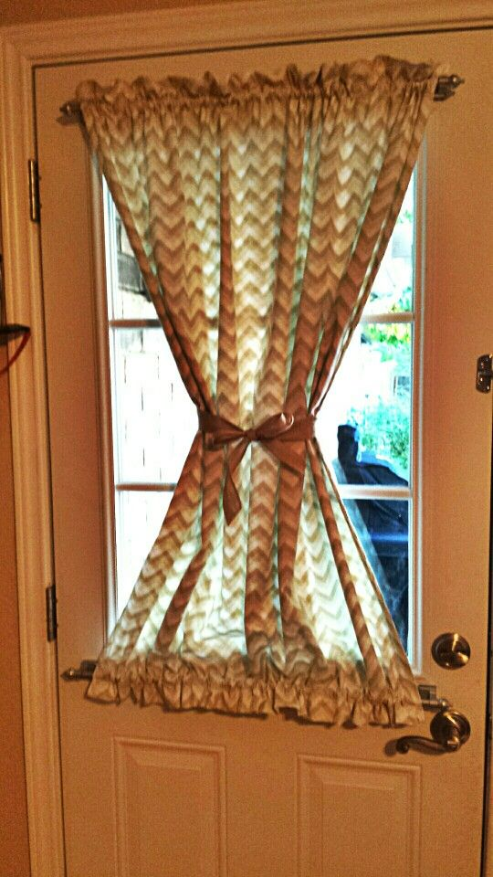 Back Door Curtain With Burlap Tie ♡ Love Chevron Print!