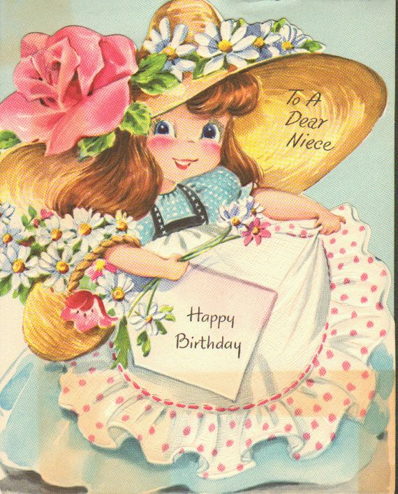 Images Of Vintage Girls First Birthday Card: Vintage Birthday Card With A Pretty Little Girl On It To A