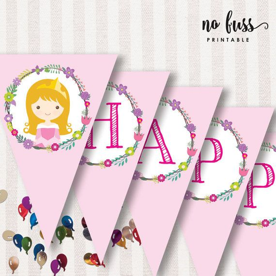 Princess Aurora Flag Bunting Flag Banner Decorations Happy Birthday Instant Download Birthday Backdrop Backdrops For Parties Bunting Flags