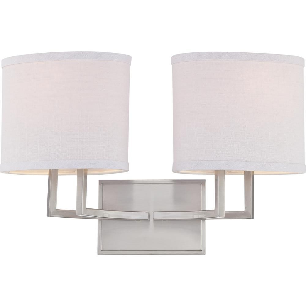 Photo of Glomar Maxwell 2-light basin lamp made of brushed nickel CLI-SC647529 – The Home Depot