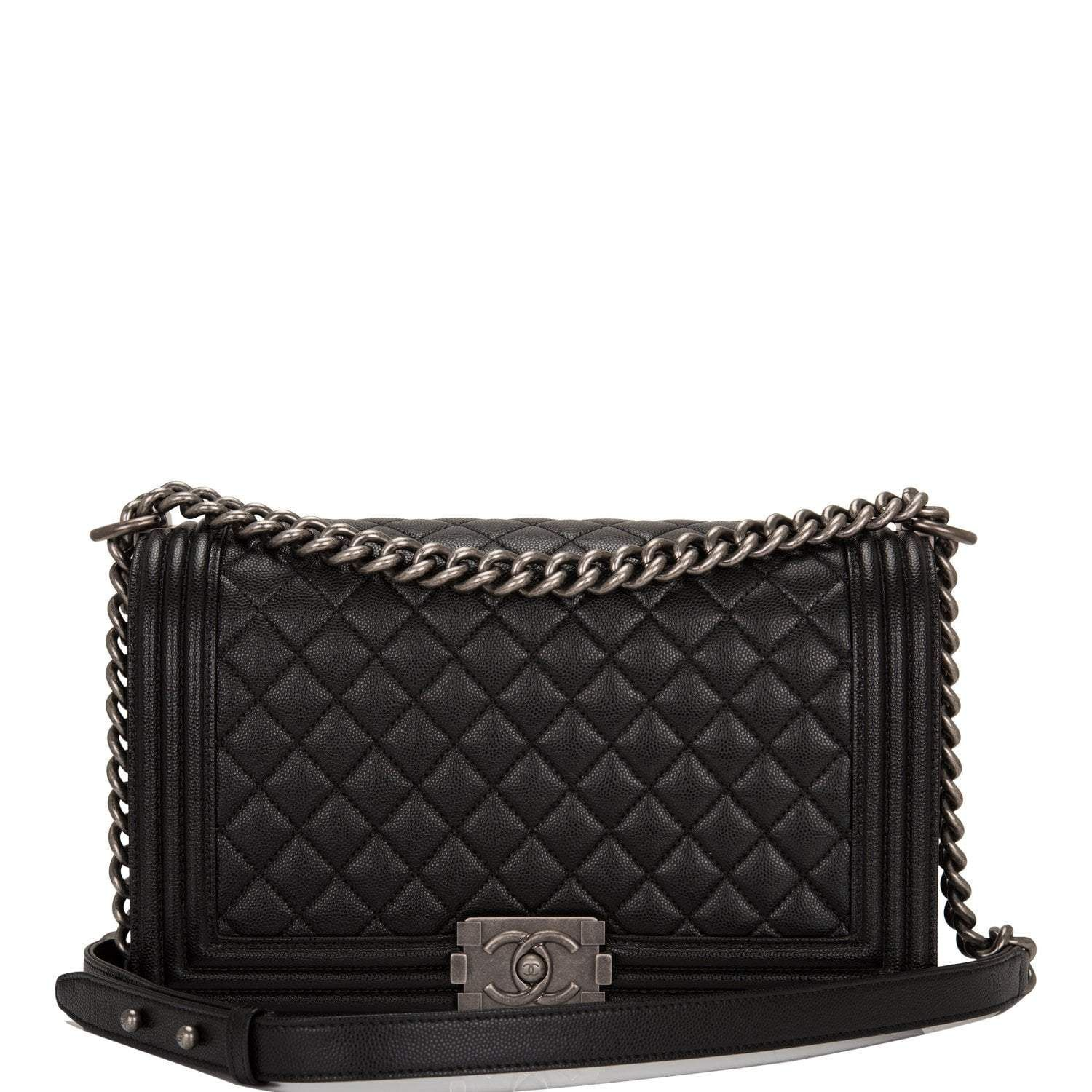 Chanel Black Quilted Caviar Jumbo Classic Double Flap Bag Gold Hardware Chanel Bag Classic Black Leather Handbags Leather Shoulder Handbags