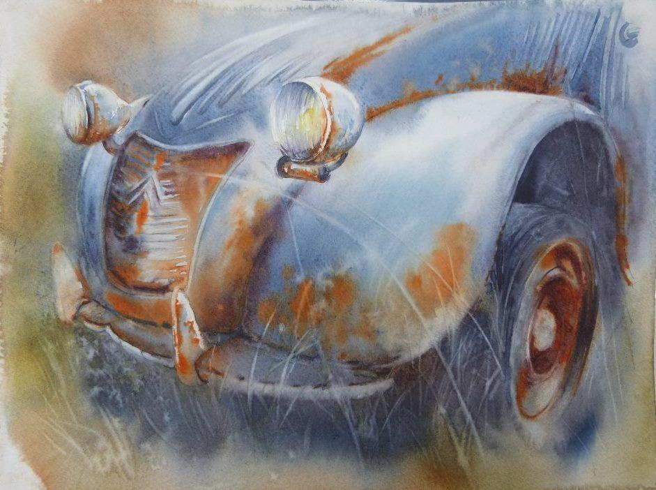 rost in aquarell in 2020  car painting watercolor art