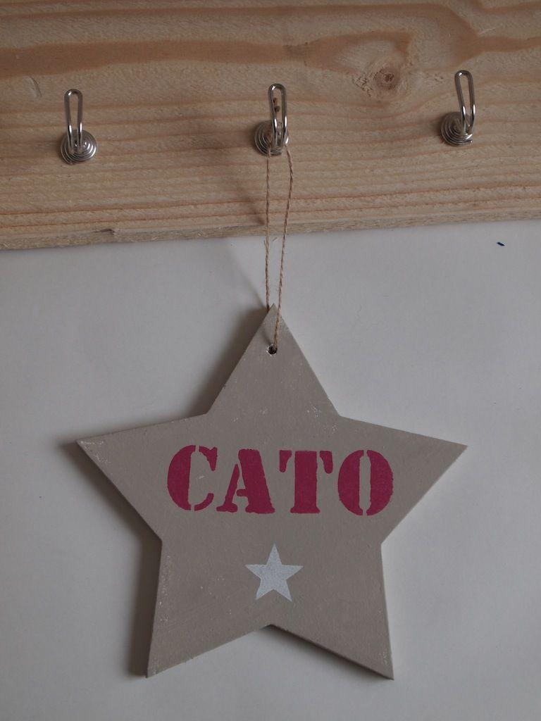 Naambord #ster, ook leverbaar in andere kleuren... www.wisenwaarachtig.nl