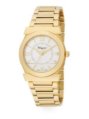 SALVATORE FERRAGAMO Vega Goldtone Stainless Steel Bracelet Watch. #salvatoreferragamo #watch
