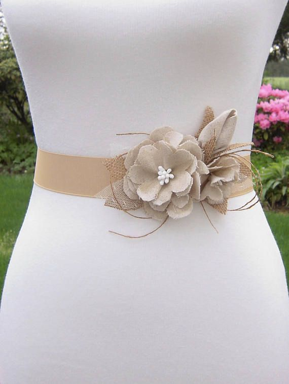 Rustic Lace Wedding Dress with Flower Belt