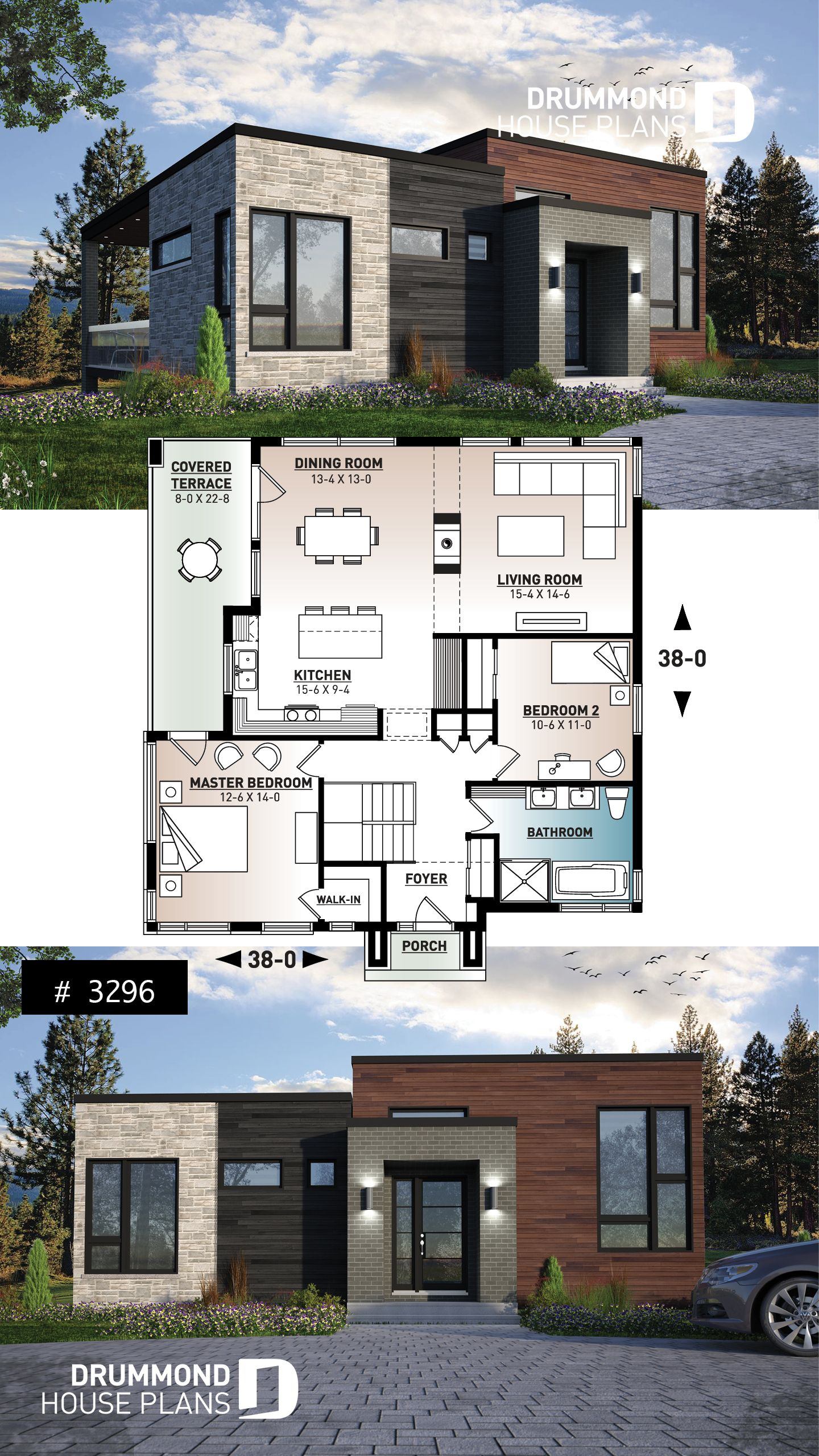 Discover The Plan 3296 Zenia Which Will Please You For Its 2 Bedrooms And For Its Modern Design Styles Modern House Floor Plans Basement House Plans Bungalow House Design