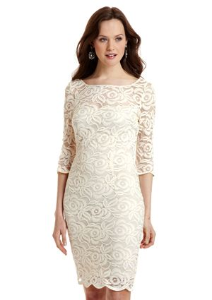 JS COLLECTIONS Three-Quarter Sleeve Lace Dress; mother of bride?