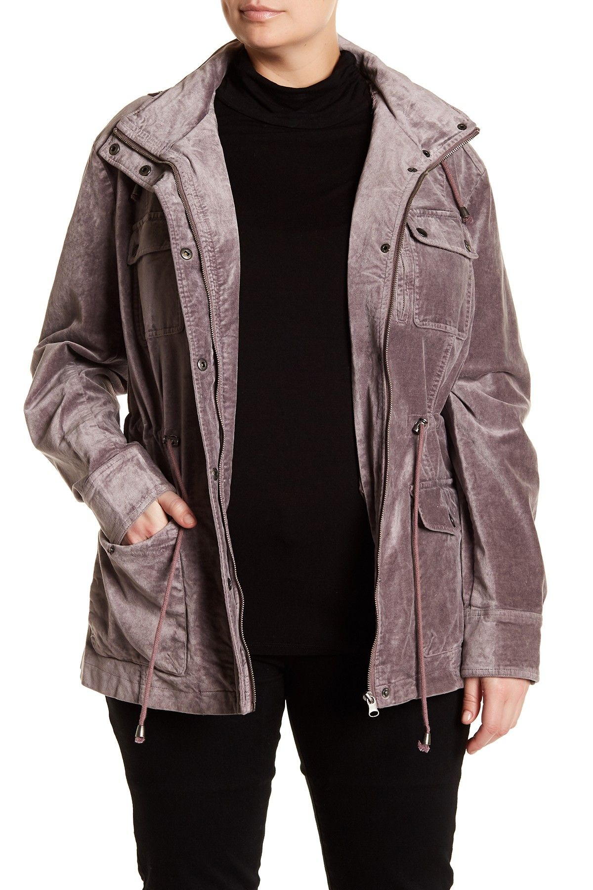 Blanc Noir Snap Front Patch Pocket Velvet Jacket (Plus
