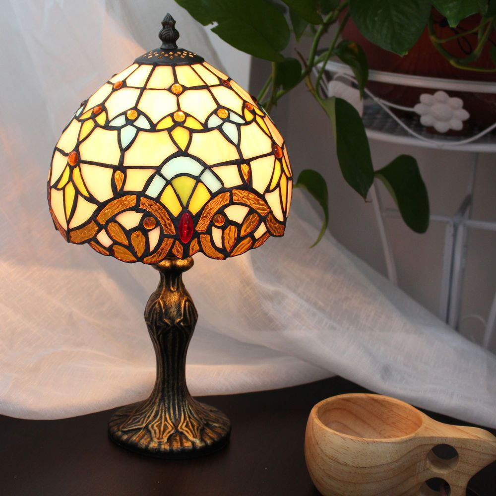 Tiffany style stained glass handcrafted baroque table lamp button 48 tiffany style stained glass handcrafted baroque table lamp button switch 8 inch collectibles mozeypictures Image collections