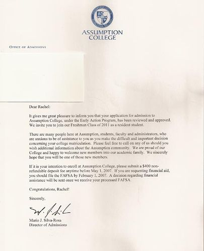 college admission acceptance letter - Google Search Work stuff - new sample letter of request for approval to purchase