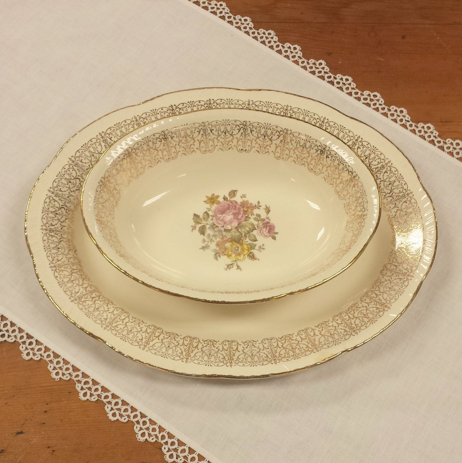 Oval Serving Dishes ~ Monticello Dinnerware by Homer Laughlin ~ Platter Vegetable Server Bowl Replacement China by FeeneyFinds on Etsy & Reserved: Oval Serving Dishes ~ Monticello Dinnerware by Homer ...