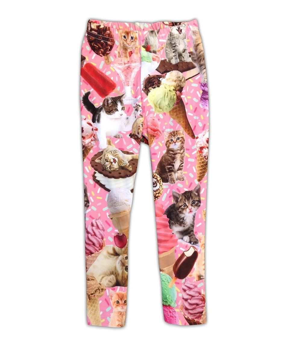 d408e2ae98884b Take a look at this Urban Smalls Pink Ice Creams & Kittens Leggings -  Toddler & Girls today!