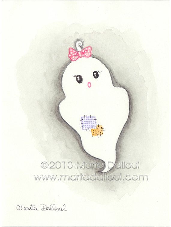 Halloween Cute Ghost With Bow Watercolor Art 4 25 By Martadalloul