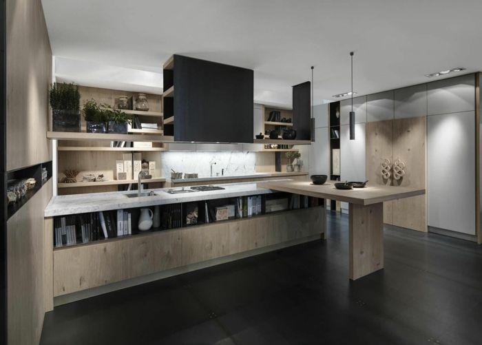 bodenbelag küche laminat schwarz hölterne möbel Küche Pinterest - laminat für küchen