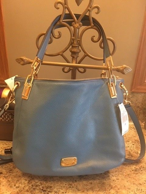 26fd7983bbae ... release date cornflower blue michael kors brooke leather large shoulder  tote 1549d 901c8