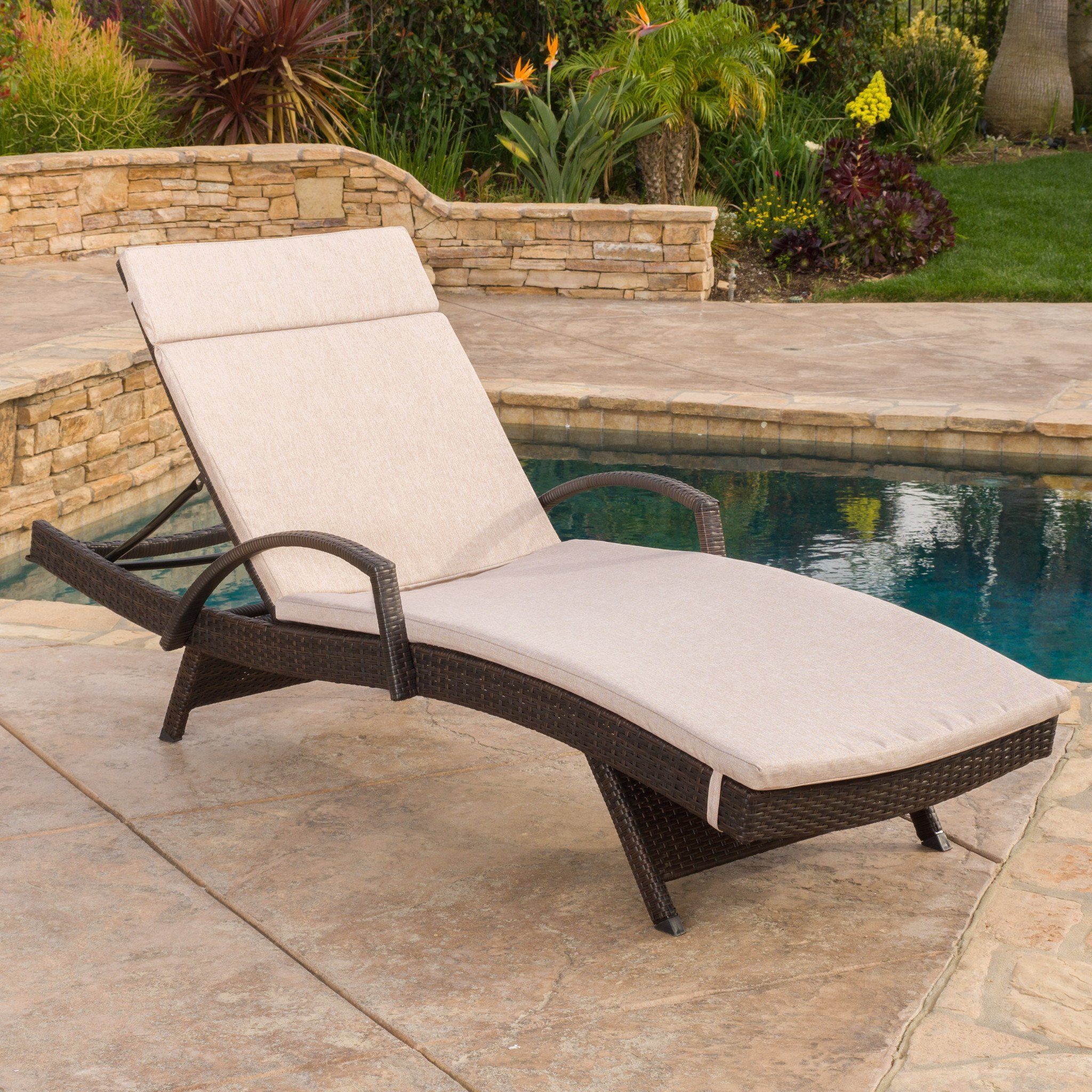 chaise lounge chair cushions. Lakeport Outdoor Adjustable Armed Chaise Lounge Chair W/ Cushion Cushions