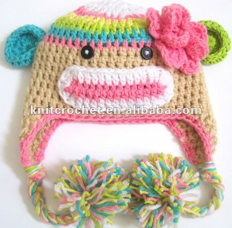 Image Detail For Cute Hand Knit Crochet Sock Monkey Beanie Hat With