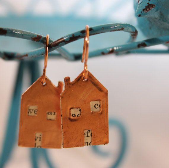 Earrings. Copper Houses. Handmade. Paper. by SalvagedJewelryArts