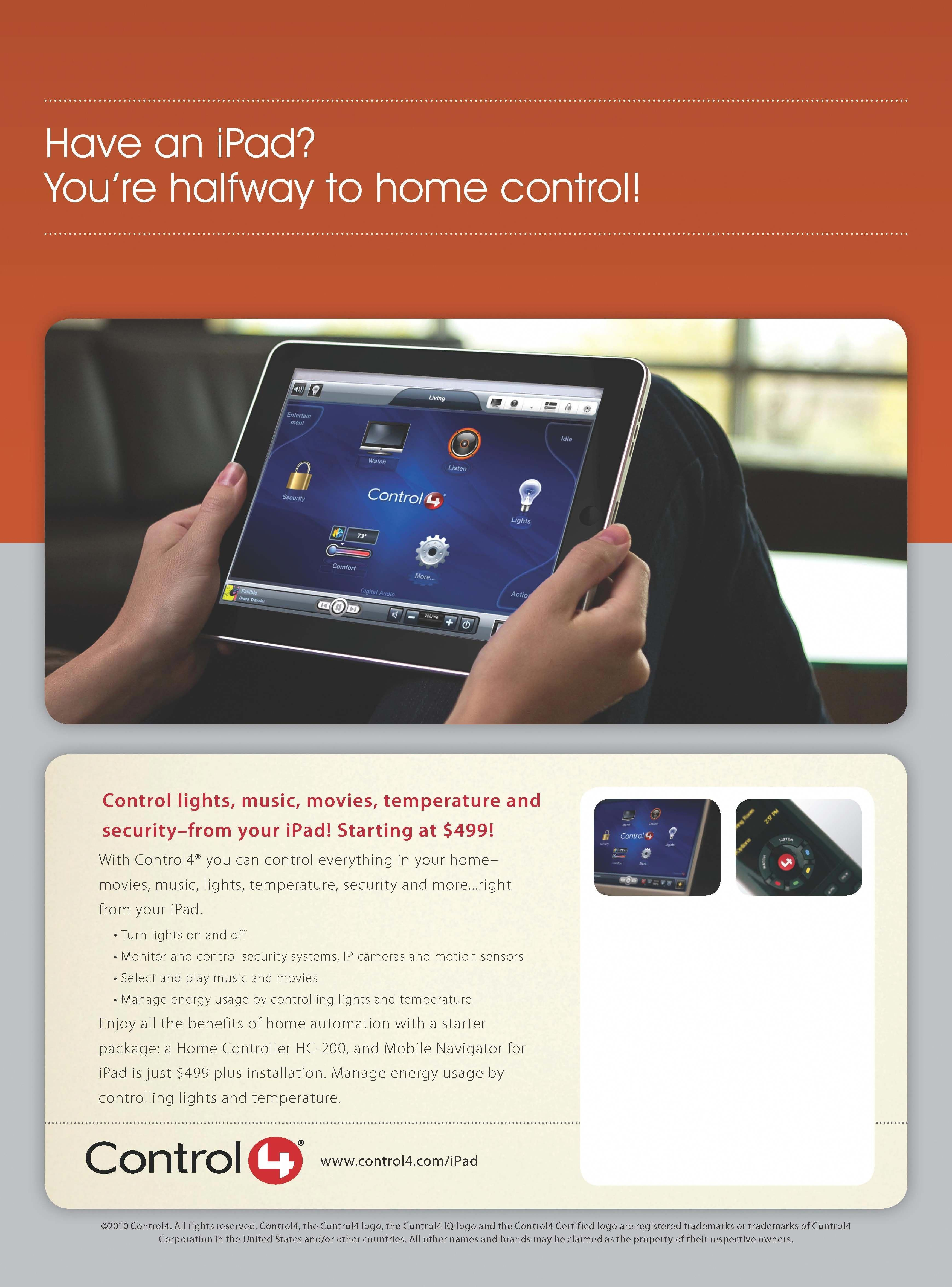 Have An Ipad    Want To Control Your Lighting  Thermostats  Home Theater  Alarm Or Multi